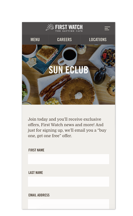 First Watch eClub Signup