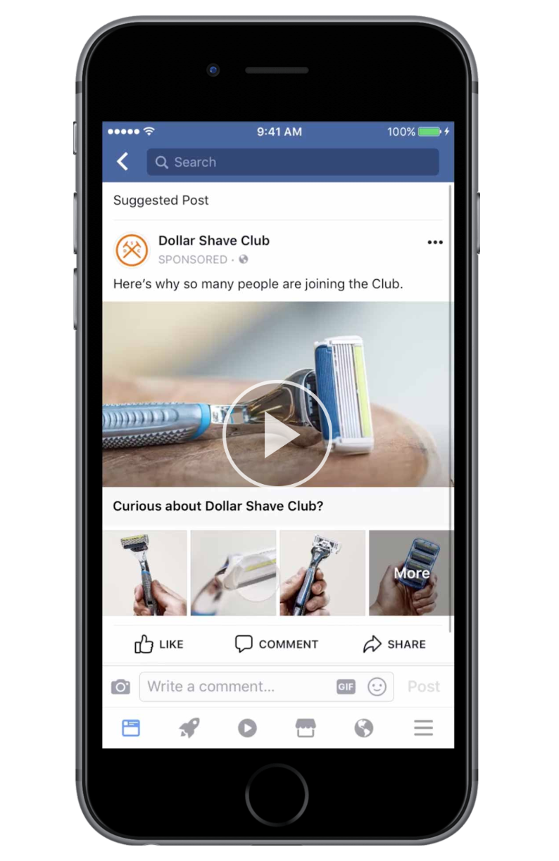 Mobile device with Facebook Collection Advertising Example