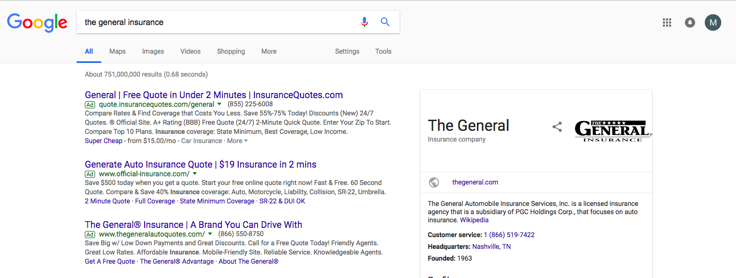 Screenshot Example of Competitor Bids on Branded Keywords