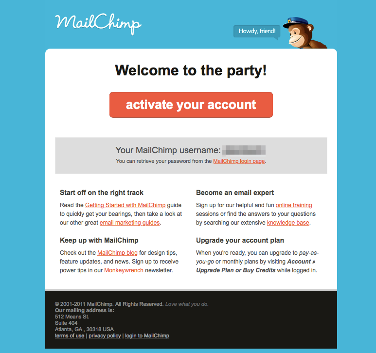 Example of Mailchimp Confirmation Email