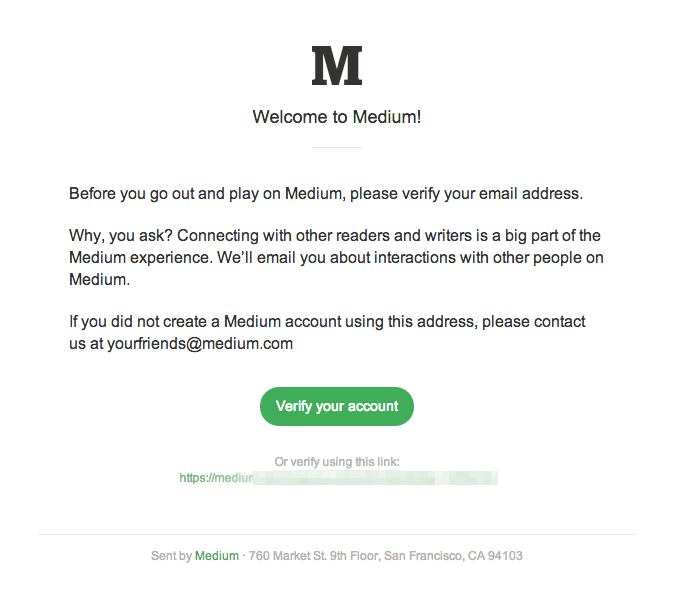 Example Medium Confirmation Email